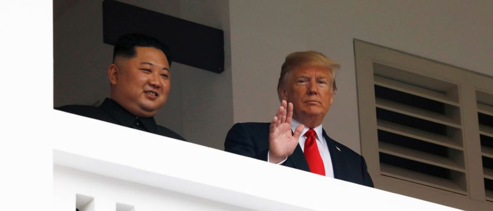 U.S. President Donald Trump and North Korea's leader Kim Jong Un hold a summit at the Capella Hotel on the resort island of Sentosa, Singapore. (REUTERS/Jonathan Ernst)