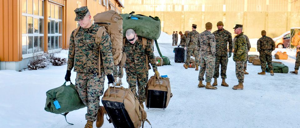 U.S. Marines, who are to attend a six-month training to learn about winter warfare, arrive in Stjordal, Norway January 16, 2017. NTB Scanpix/Ned Alley/via REUTERS/File Photo
