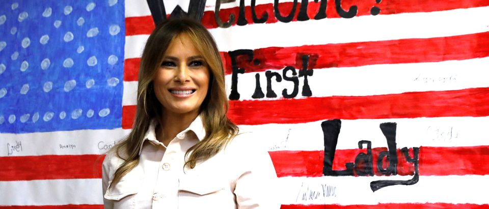U.S. first lady Melania Trump tours a children's center near the U.S.-Mexico border in McAllen, Texas