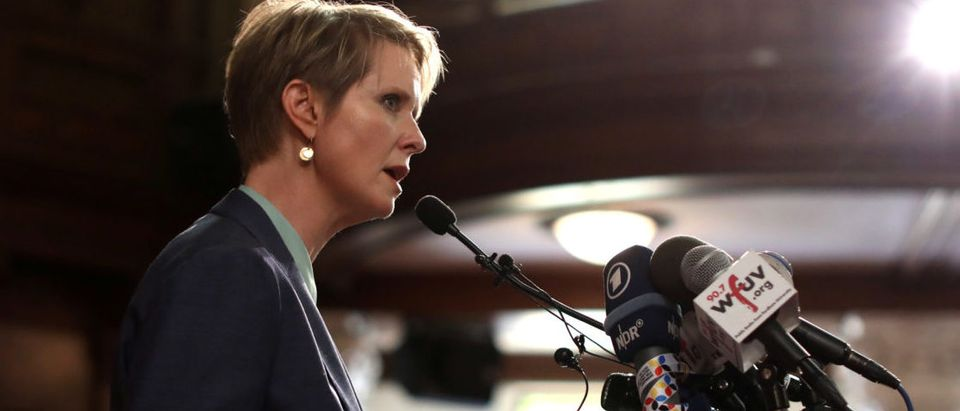 Democratic candidate for NY Governor Cynthia Nixon speaks at a news conference at the St. Paul and St. Andrew United Methodist Church in New York City