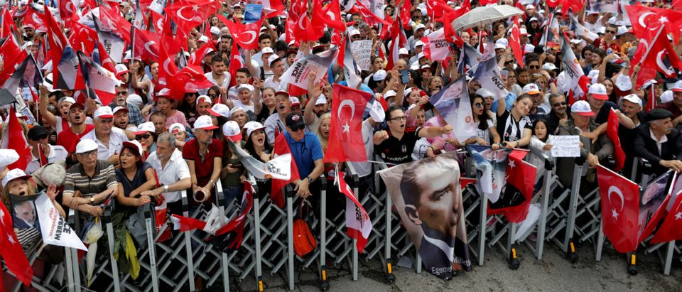 Supporters of Muharrem Ince, presidential candidate of Turkey's main opposition Republican People's Party (CHP), attend his election rally in Ankara