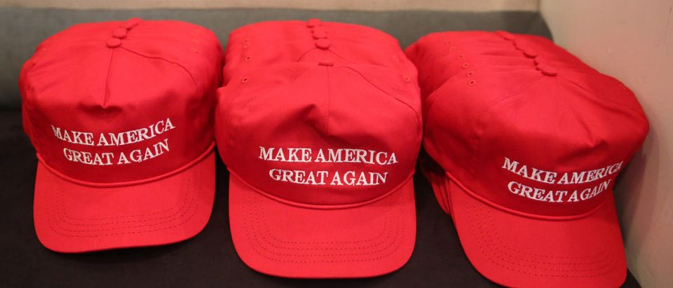 "Republican presidential nominee Donald Trump ""Make America Great Again"" hats are pictured during a meeting with Trump's Hispanic Advisory Council at Trump Tower in the Manhattan borough of New York"