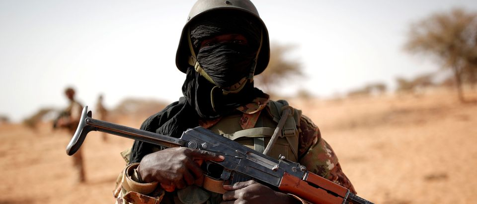 FILE PHOTO: A Malian soldier near Tin Hama, Mali, October 20, 2017
