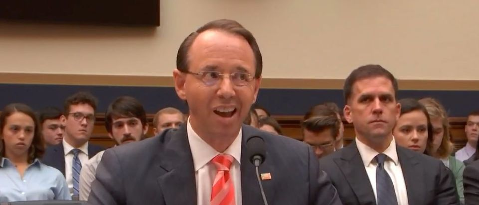 Deputy Attorney Rod Rosenstein testifies before House Judiciary Committee, June 28, 2018. (YouTube screen grab)