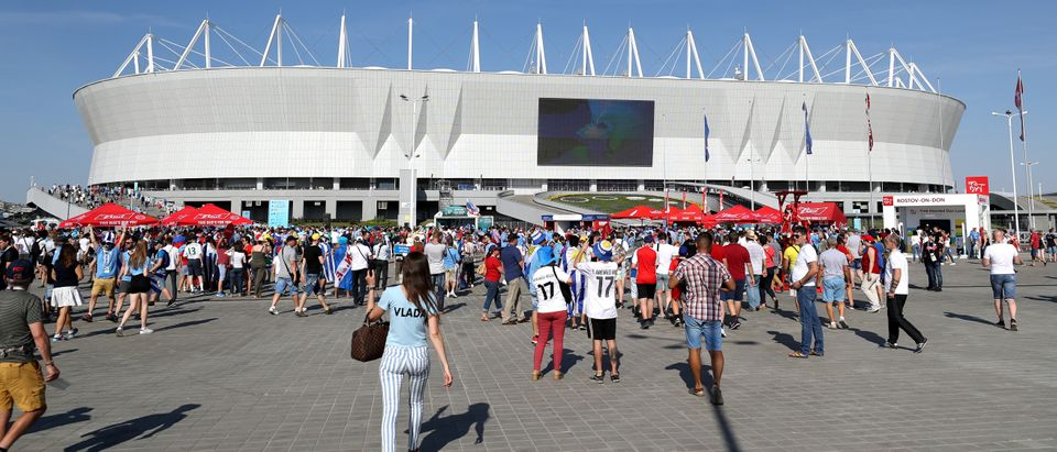 Uruguay fans enjoy the pre match atmosphere prior to the 2018 FIFA World Cup Russia group A match between Uruguay and Saudi Arabia at Rostov Arena on June 20, 2018 in Rostov-on-Don, Russia. (Photo by Clive Rose/Getty Images)