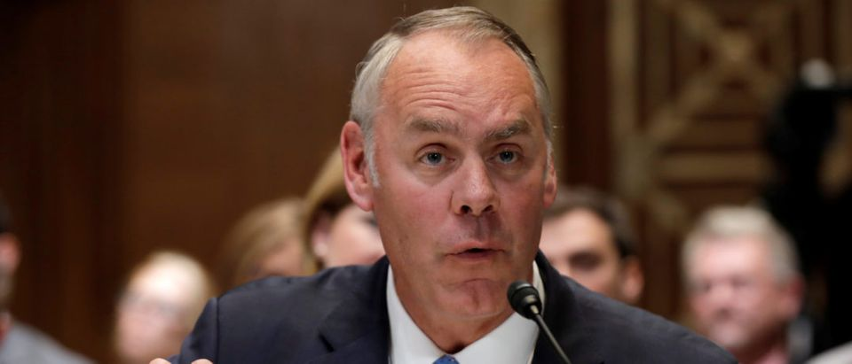 U.S. Interior Secretary Ryan Zinke testifies before a Senate Appropriations Interior, Environment and Related Agencies Subcommittee hearing in Washington