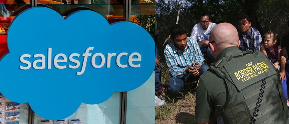 Salesforce employees wrote an open letter to the CEO demanding the company cut all ties to Customs and Border Protection. (Left image: Shutterstock.com. Right image: John Moore/Getty Images)