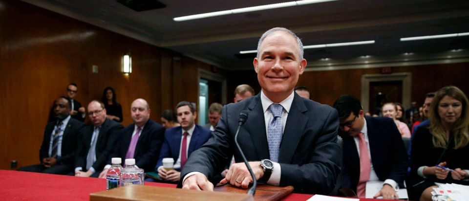 EPA Administrator Pruitt testifies before a Senate Appropriations Subcommittee hearing on the proposed budget for the Environmental Protection Agency on Capitol Hill in Washington