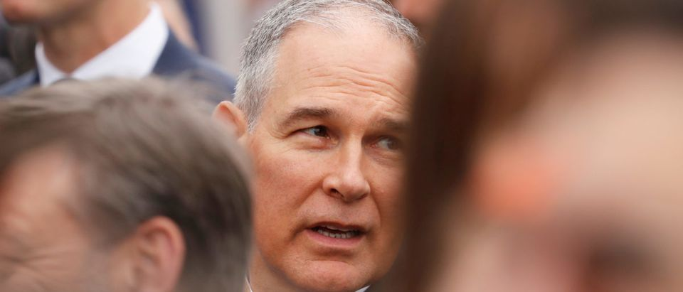 EPA Administrator Scott Pruitt attends an arrival ceremony for French President Macron at the White House in Washington