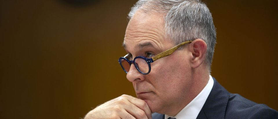 EPA Administrator Scott Pruitt testifies before a Senate Appropriations Interior, Environment, and Related Agencies Subcommittee hearing on the proposed budget estimates and justification for FY2019 for the Environmental Protection Agency on Capitol Hill in Washington, U.S., May 16, 2018. REUTERS/Al Drago