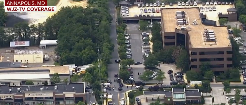 Screen Shot:Youtube:CBS News:Active Shooter Reported In Maryland Newsroom