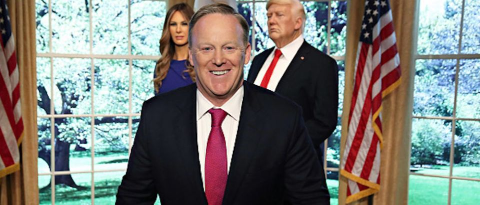 """NEW YORK, NY - APRIL 25: Sean Spicer reveals the first Madame Tussauds Melania Trump figure at the launch of the """"Give Melania A Voice"""" Experience at Madame Tussauds on April 25, 2018 in New York City. (Photo by Cindy Ord/Getty Images for Madame Tussauds)"""