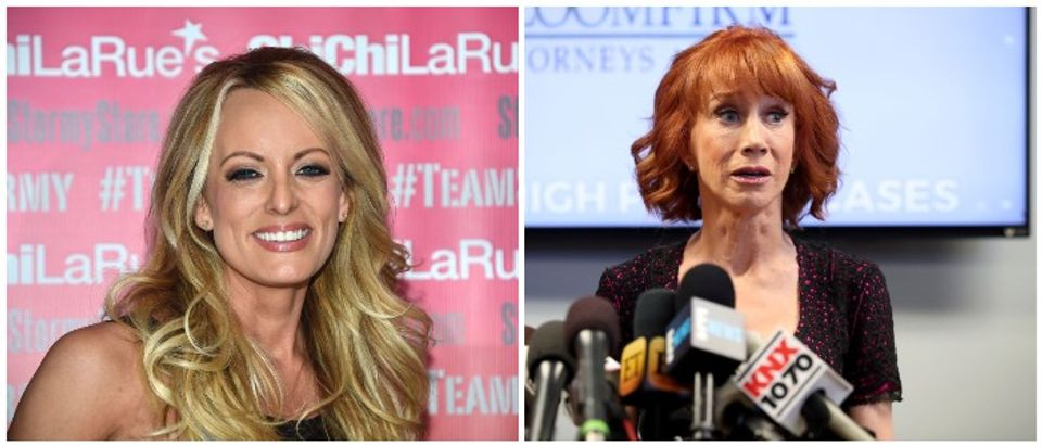 Stormy and Griffin met at Griffin's show and they talked politics. Left: ROBYN BECK/AFP/Getty Images, Right Frederick M. Brown/Getty Images