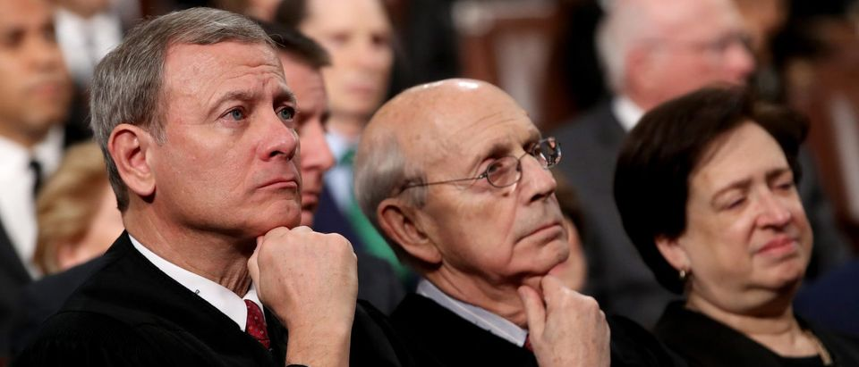 U.S. Supreme Court Chief Justice John G. Roberts and Associate Justices Stephen Breyer and Elena Kagan listen during U.S. President Donald Trump's first State of the Union address to a joint session of Congress on Capitol Hill in Washington, U.S., January 30, 2018. REUTERS/Win McNamee