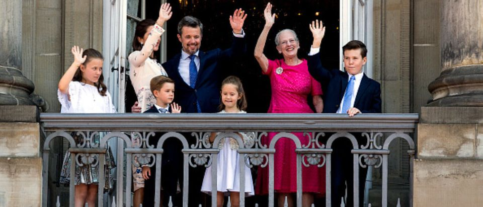 COPENHAGEN, DENMARK - MAY 26: Crown Prince Frederik of Denmark (L-3rd) with his family waves ro rhe people on the Amalienborg Palace square on the occasion of his 50th birthday on May 26, 2018 in Copenhagen, Denmark. Later during the evening the Crown Prince host a Gala Banquet at Christiansborg. (Photo by Ole Jensen/Getty Images)