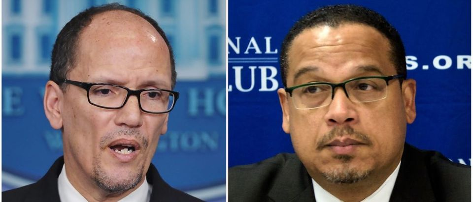 These two file photos show then Labor Secretary Thomas Perez (L) speaking to reporters about the minimum wage for federal contractors at the White House in Washington, DC, on Feburary 12, 2014; and Minnesota Democratic Congressman Keith Ellison (R) during a press conference about Islamophobia at the National Press Club on May 24, 2016 in Washington, DC. (Photo: MANDEL NGAN,BRENDAN SMIALOWSKI/AFP/Getty Images)