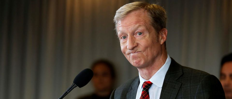 Tom Steyer, a hedge fund manager and a prominent Democratic fundraiser who has mounted a high-profile advertising campaign advocating the impeachment of U.S. President Donald Trump, holds a news conference to announce plans for his political future, in Washington, U.S., Jan. 8, 2018. REUTERS/Joshua Roberts