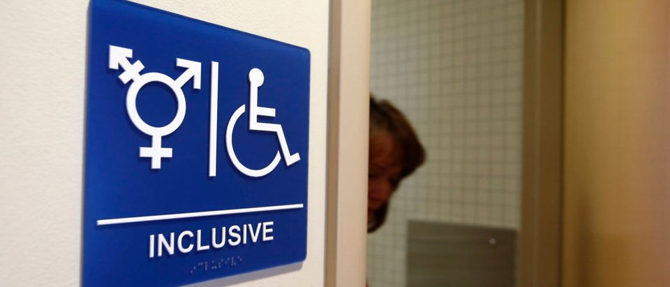 A gender-neutral bathroom is seen at the University of California, Irvine in Irvine, California September 30, 2014. The University of California will designate gender-neutral restrooms at its 10 campuses to accommodate transgender students, in a move that may be the first of its kind for a system of colleges in the United States. REUTERS/Lucy Nicholson