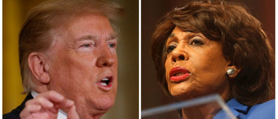 A Combination photo of U.S. President Donald Trump speaking in Washington, D.C., June 18, 2018 and Democratic Congresswoman Maxine Waters in Detroit October 28, 2017. REUTERS/Leah Millis/Rebecca Cook/File Photos