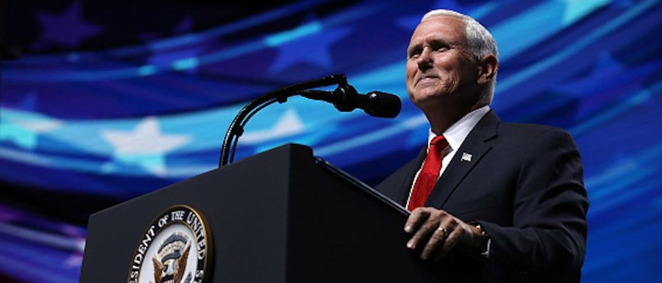 DALLAS, TX - MAY 04: U.S. Vice President Mike Pence speaks at the NRA-ILA Leadership Forum during the NRA Annual Meeting & Exhibits at the Kay Bailey Hutchison Convention Center on May 4, 2018 in Dallas, Texas. The National Rifle Association's annual meeting and exhibit runs through Sunday. (Photo by Justin Sullivan/Getty Images)