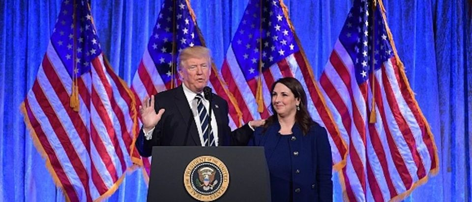 U.S. President Donald Trump speaks after his introduction by RNC Chairwoman Ronna Romney McDaniel at a fundraising breakfast in a restaurant in New York, New York on December 2, 2017. / AFP PHOTO / MANDEL NGAN (Photo credit should read MANDEL NGAN/AFP/Getty Images)