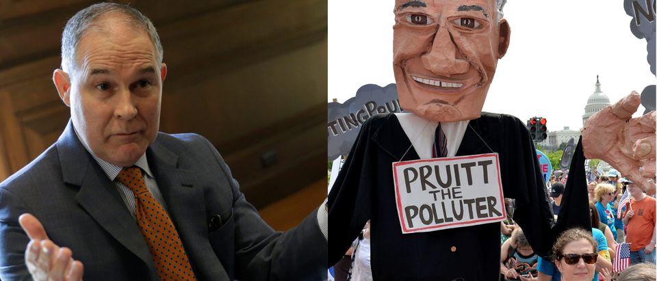 Scott Pruitt and Scott Pruitt critics, Reuters/ By Mike Theiler and Yuri Gripas