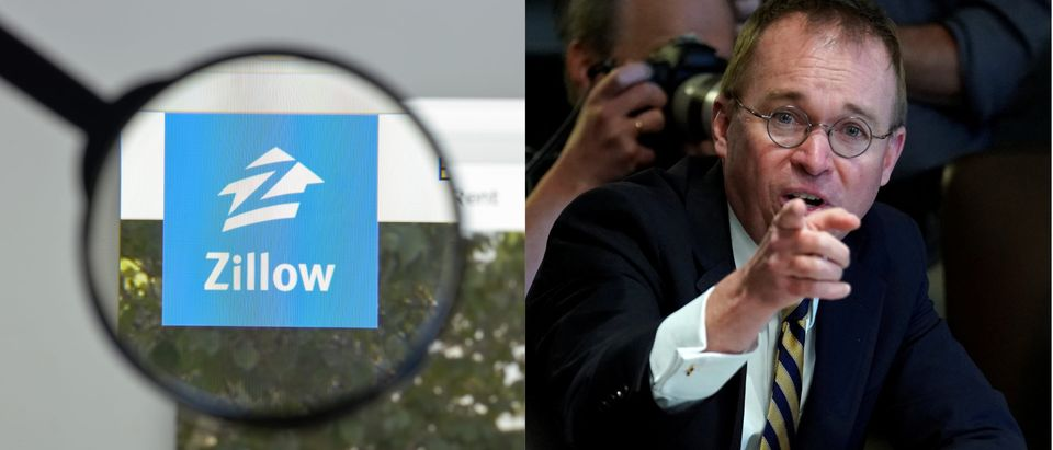 Zillow homepage and Mick Mulvaney, Reuters and Shutetrstock / By Casimiro PT and Jonathan Ernst