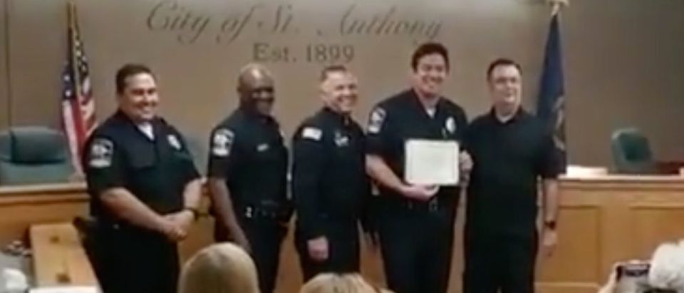 Dean Cain swears in with Idaho State Police./Screenshot