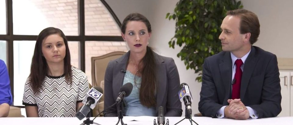 L to R) Kaylee Lorincz, Rachael Denhollander and Brian Calley in an ad for his campaign for Michigan governor. //YouTube screenshot