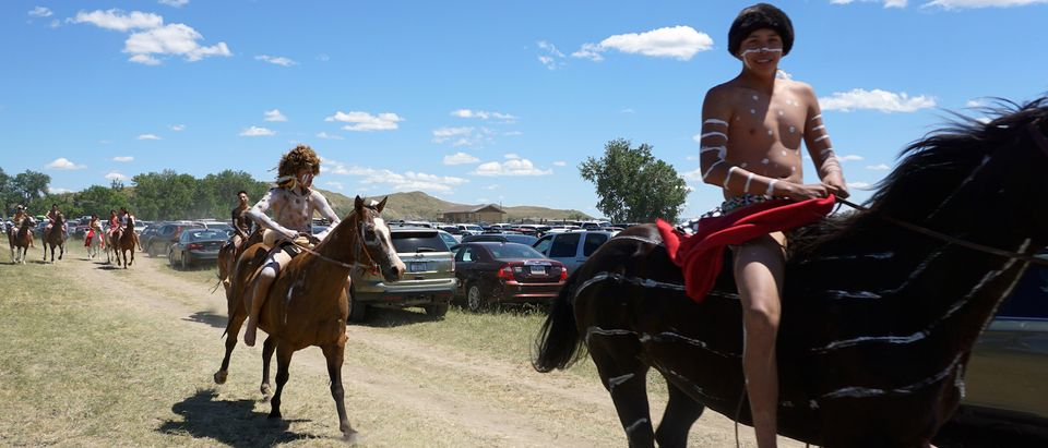 Battle of Little Big Horn re-enactment participants are seen on the Crow reservation