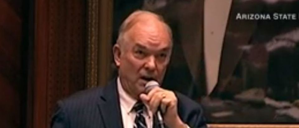Former Arizona Republican state Rep. Don Shooter speaks before an expulsion vote against him on Feb. 1, 2018. Screenshot from CNN video