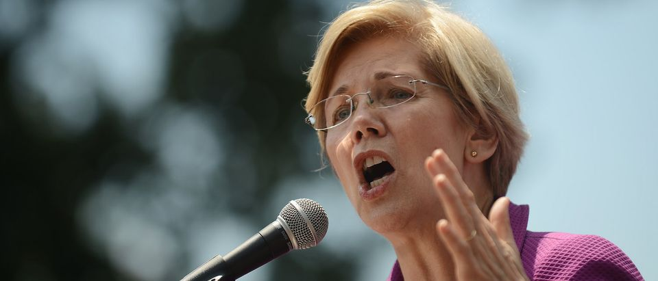 U.S. Sen. Elizabeth Warren (D-MA) speaks at a rally to oppose the repeal of the Affordable Care Act and its replacement on Capitol Hill on June 21, 2017 in Washington, DC. Criticism is mounting on the GOP for health care reform legislation being done behind closed doors. (Photo: Astrid Riecken/Getty Images)