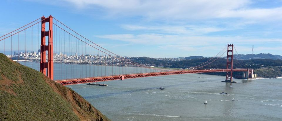 Feb 6, 2016; San Francisco, CA, USA; A general view of the Golden Gate Bridge and the skyline of downtown San Francisco. Kirby Lee-USA TODAY Sports / Reuters / Action Images