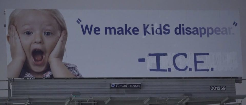 A billboard that was vandalized to attack I.C.E. by activist art group Indecline on June 21, 2018. Screenshot from Vimeo
