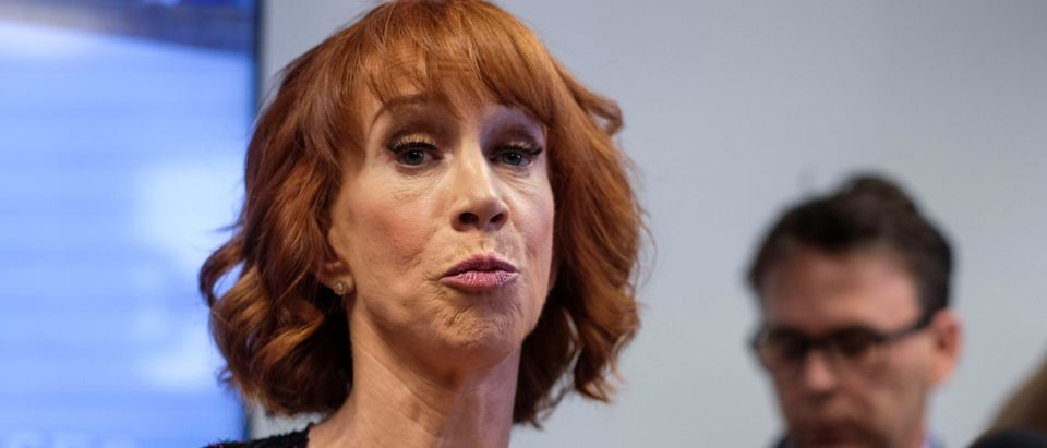 Comedian Kathy Griffin speaks at a news conference in Woodland Hills, Los Angeles, California, U.S., June 2, 2017. REUTERS/Ringo Chiu - RC16D8CAA970