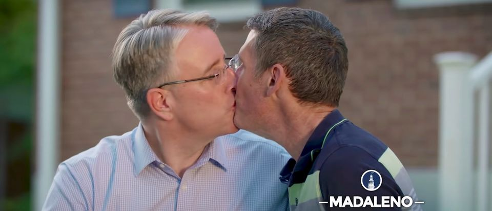 Maryland Democratic candidate for governor Richard Madaleno kisses husband in campaign ad (Screenshot/YouTube/Richard Madaleno)