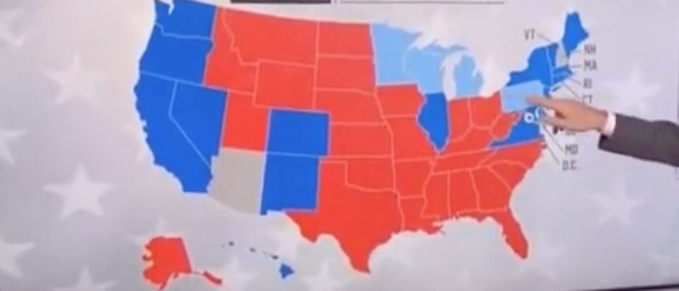 Map shows red states and blue states in 2016 election./Screenshot