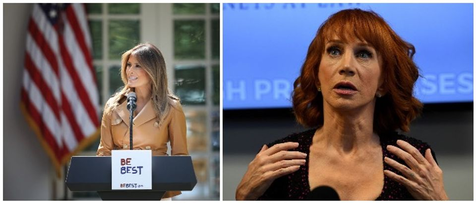 Melania Trump and Kathy Griffin (Left: Getty, Photo by Win McNamee; Right: Getty, MARK RALSTON/AFP)
