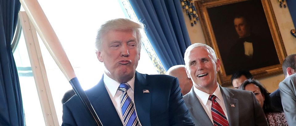 Vice President Mike Pence laughs as U.S. President Donald Trump holds a baseball bat as they attend a Made in America product showcase event at the White House in Washington, U.S., July 17, 2017. REUTERS/Carlos Barria