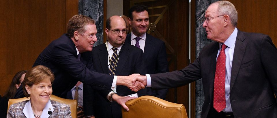 U.S. Trade Representative Robert Lighthizer greets Chairman Jerry Moran, R-KS, before testifyingbefore Senate Appropriations Commerce, Justice, Science, and Related Agencies Subcommittee hearing in Washington