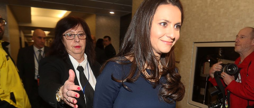 Progressive Conservatives leadership race candidate Tanya Granic Allen walks the hallway while waiting for election decision after results were put on hold due to a ballot discrepancy in Markham
