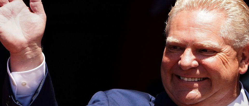 Ontario Premier Doug Ford is pictured during his unofficial swearing in ceremony in Toronto