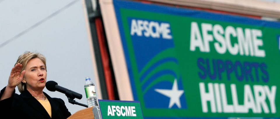 Democratic presidential candidate Senator Hillary Clinton (D-NY) speaks to AFSCME Council 61 union workers