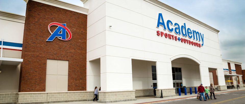 HIRAM, GA - FEB. 1, 2014: Customers leave an Academy Sports and Outdoors store in Hiram, Ga., on Feb. 1, 2014. The Texas-based company operates more than 170 locations, mainly in the Southeast U.S. [Shutterstock/Rob Hainer]