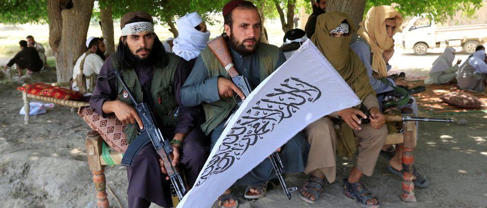 Taliban gather to celebrate ceasefire in Ghanikhel district of Nangarhar province, Afghanistan