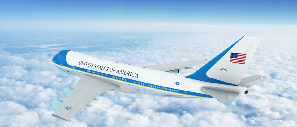 Aerial view of U.S. Air Force One Boeing 747 (VC-25) Aircraft. 3D Illustration. [Shutterstock/NextNewMedia]