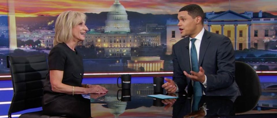 """Andrea Mitchell appears on """"The Late Show with Trevor Noah"""" on Comedy Central. (Photo: Screenshot/Comedy Central)"""