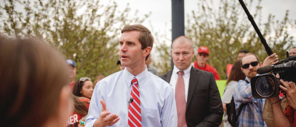 Frankfort, Kentucky- US April 13, 2018 Andy Beshear Attorney General of Kentucky, speaking to the teachers who have gathered at the capitol protesting. (Source: Nancy Mao Smith / Shutterstock.com)