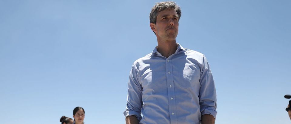 "TORNILLO, Texas -- JUNE 23: Rep. Beto O'Rourke (D-TX) arrives for a tour with other politicans of the tent encampment recently built near the Tornillo-Guadalupe Port of Entry on June 23, 2018 in Tornillo, Texas. A tent facility was recently built next to the Tornillo-Guadalupe port of entry to house immigrant children separated from their parents after they were caught entering the U.S. under the administration's ""zero tolerance policy. (Photo by Joe Raedle/Getty Images)"