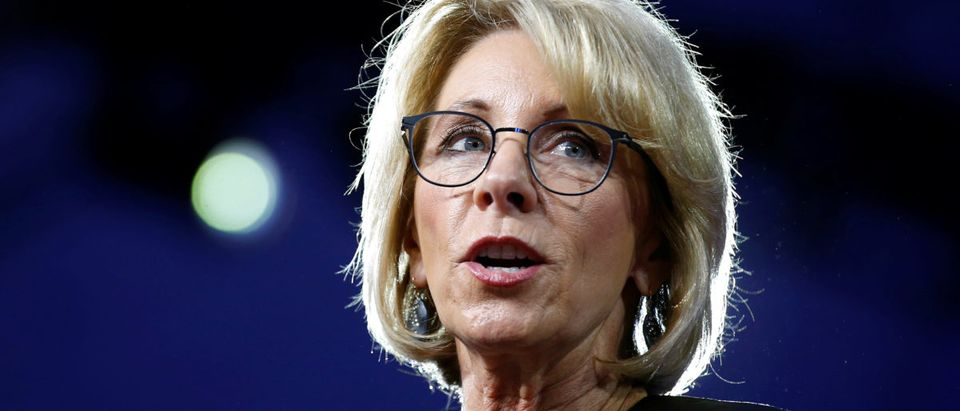 U.S. Secretary of Education Betsy DeVos speaks at the Conservative Political Action Conference (CPAC) in National Harbor, Maryland